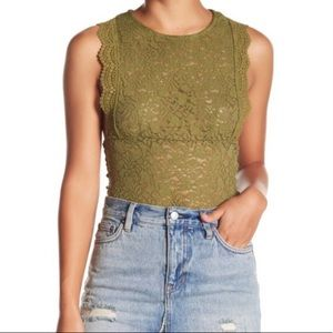 Free People Sure Thang Tank in Army/ Olive Green S